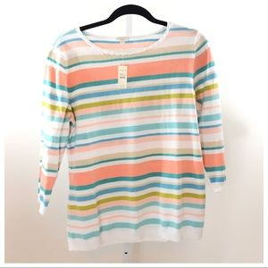 Talbots Large Pastel Striped Sweater New with Tags